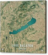 Lake Balaton 3d Render Satellite View Topographic Map Acrylic Print