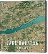 Lake Balaton 3d Render Satellite View Topographic Map Horizontal Acrylic Print