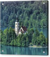 Lake Bled Island Acrylic Print