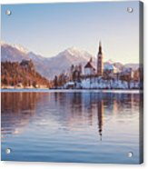 Lake Bled Winter Sunrise Acrylic Print