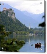 Lake Bled With Row Boat Acrylic Print