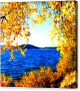 Lake Coeur D'alene Through Golden Leaves Acrylic Print