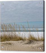 Lake Erie Ice Blanket With Sand Dunes And Dry Grass Acrylic Print