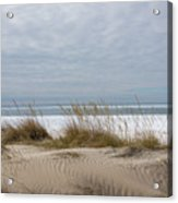 Lake Erie Sand Dunes Dry Grass And Ice Acrylic Print