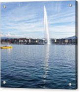 Lake Geneva Switzerland With Water Fountain And Water Taxi On A  Acrylic Print
