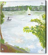 Lake Harriet With Sailboat And Angler Acrylic Print