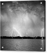 Lake Lightning Bw Acrylic Print