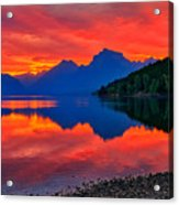 Lake Mcdonald Fiery Sunrise Acrylic Print