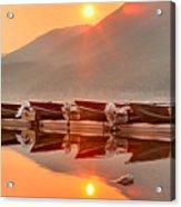 Lake Mcdonald Fiery Sunset Acrylic Print