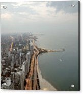 Lake Michigan And Chicago Skyline. Acrylic Print by Ixefra