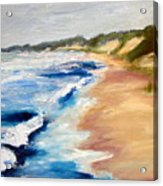 Lake Michigan Beach With Whitecaps Detail Acrylic Print