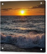 Lake Michigan Sunset With Crashing Shore Waves Acrylic Print