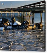 Lake Ontario Sunset At Toronto Center Island Pier In Winter With Acrylic Print