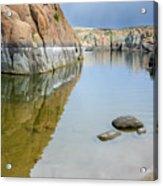 Lake Reflections At Granite Dells Acrylic Print