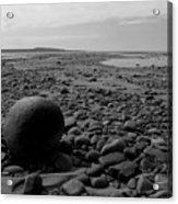 Lake Superrior Rock Black And White Acrylic Print