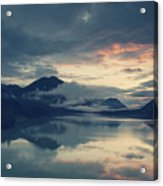 Lake Sylvenstein With Red Sky Acrylic Print