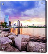 Lakefront Sunset On Rocks Acrylic Print
