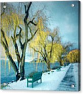 Lakeshore Walkway In Winter Acrylic Print