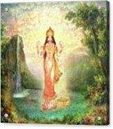 Lakshmi With The Waterfall 2 Acrylic Print