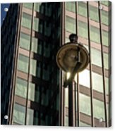 Lamp Post Against Green Glass Building Acrylic Print