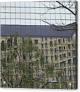 Lamp Post With Building Reflection Acrylic Print