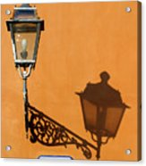 Lamp, Shadow And Burnt Umber Wall, Orvieto, Italy Acrylic Print