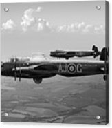 Lancasters Aj-g And Aj-n Carrying Upkeeps Black And White Versio Acrylic Print