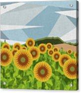Land Of Sunflowers. Acrylic Print