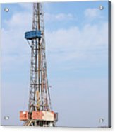 Land Oil Drilling Rig With Equipment On Oilfield Acrylic Print