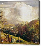 Landscape Figures And Cattle Acrylic Print