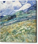 Landscape From Saint Remy At Wheat Fields  Van Gogh Series   By Vincent Van Gogh Acrylic Print