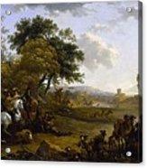 Landscape With A Hunting Party Nicolaes Claes Pietersz Berchem Acrylic Print