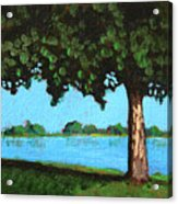 Landscape With A Lake And Tree Acrylic Print
