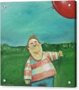 Landscape With Boy And Red Balloon Acrylic Print