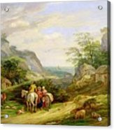 Landscape With Figures And Cattle Acrylic Print by James Leakey