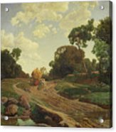Landscape With Haywagon Acrylic Print