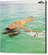 Lanikai Floating Woman Acrylic Print