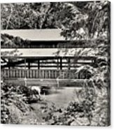 Lanterman's Mill Covered Bridge Black And White Acrylic Print