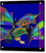 Large Blue Edo Screen  Acrylic Print