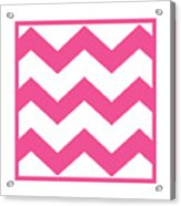 Large Chevron With Border In French Pink Acrylic Print