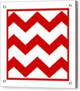Large Chevron With Border In Red Acrylic Print