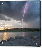 Large Lighting From Dark Clouds During Sunset At Large Lake Acrylic Print