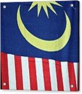 Large Malaysia Flag On Doorway Georgetown Penang Malaysia Acrylic Print