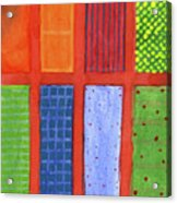 Large Rectangle Fields Between Red Grid  Acrylic Print