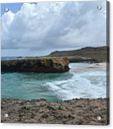 Large Rock Formation In Aruba's Boca Keto Beach Acrylic Print