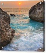 Large Rocks And Wave With Sunset On Paradise Island Greece Acrylic Print