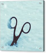 Large Scissors In Snow Acrylic Print
