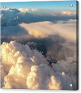 Large White Cloud From Passanger Airplace Window At Sunset Acrylic Print