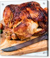 Large Whole Chicken Ready To Be Carved On Wooden Server Board  Acrylic Print
