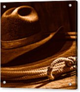 Lariat And Hat - Sepia Acrylic Print